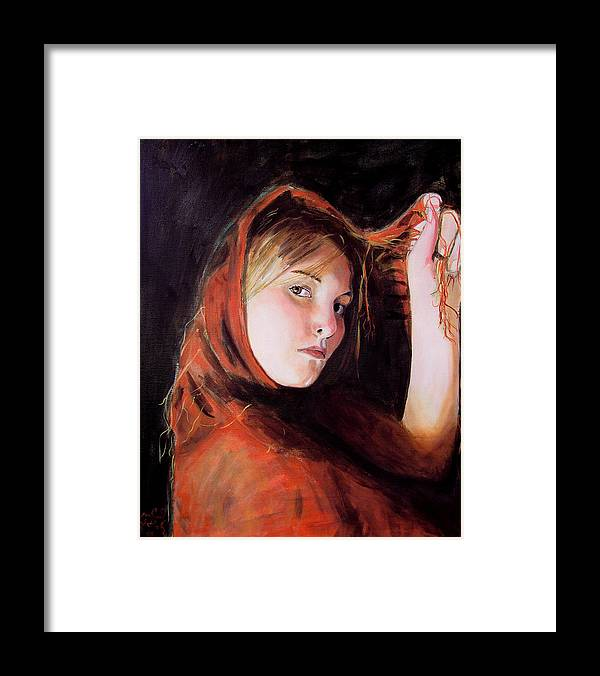 Portrait Of Woman Framed Print featuring the painting Vermeer's Daughter by Jean-Paul Setlak