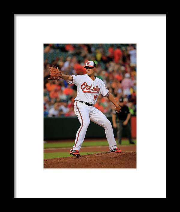 American League Baseball Framed Print featuring the photograph Wei-yin Chen by Rob Carr