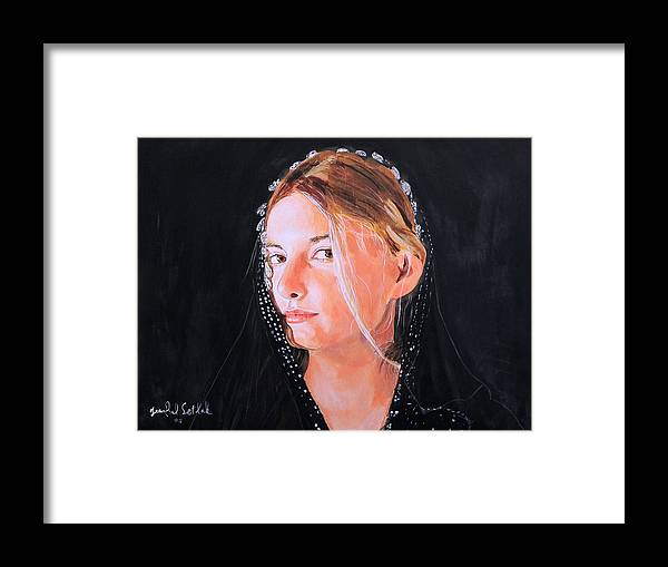 Portrait Of A Young Woman Framed Print featuring the painting White Clouds by Jean-Paul Setlak