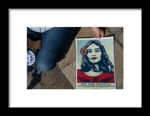 Macao Framed Print featuring the photograph Women's March Held In Macau by Anthony Kwan
