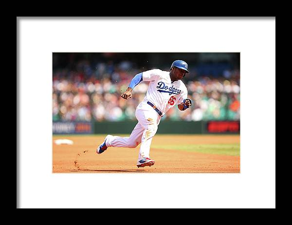 Los Angeles Dodgers Framed Print featuring the photograph Yasiel Puig by Brendon Thorne
