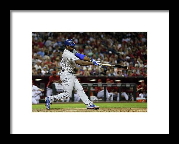 Los Angeles Dodgers Framed Print featuring the photograph Yasiel Puig by Christian Petersen