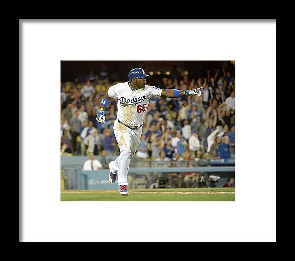 California Framed Print featuring the photograph Yasiel Puig by Harry How