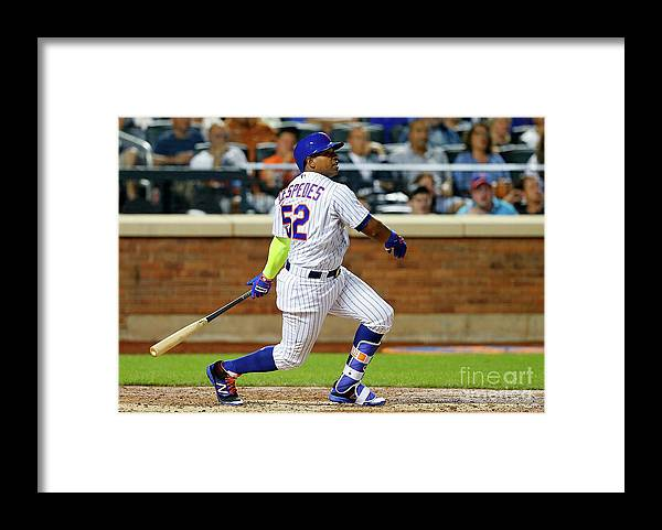 Following Framed Print featuring the photograph Yoenis Cespedes by Jim Mcisaac