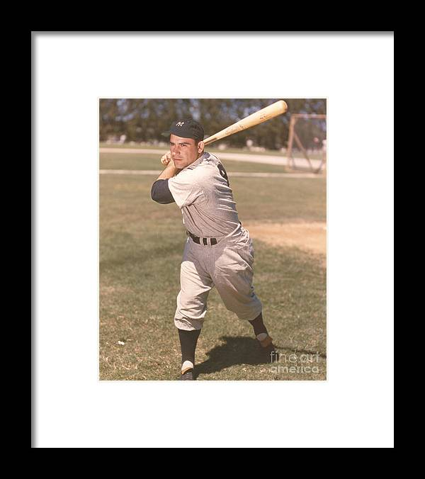 American League Baseball Framed Print featuring the photograph Yogi Berra by Kidwiler Collection