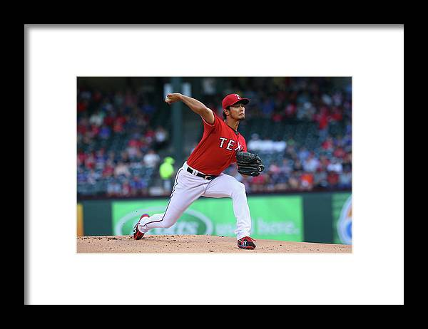 American League Baseball Framed Print featuring the photograph Yu Darvish by Ronald Martinez