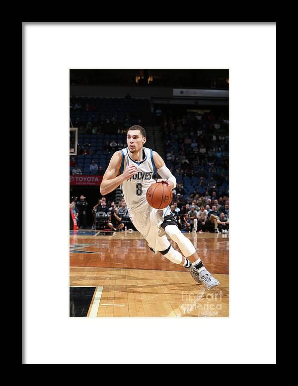 Nba Pro Basketball Framed Print featuring the photograph Zach Lavine by David Sherman