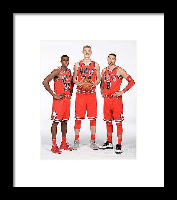 Media Day Framed Print featuring the photograph Zach Lavine, Kris Dunn, and Lauri Markkanen by Randy Belice