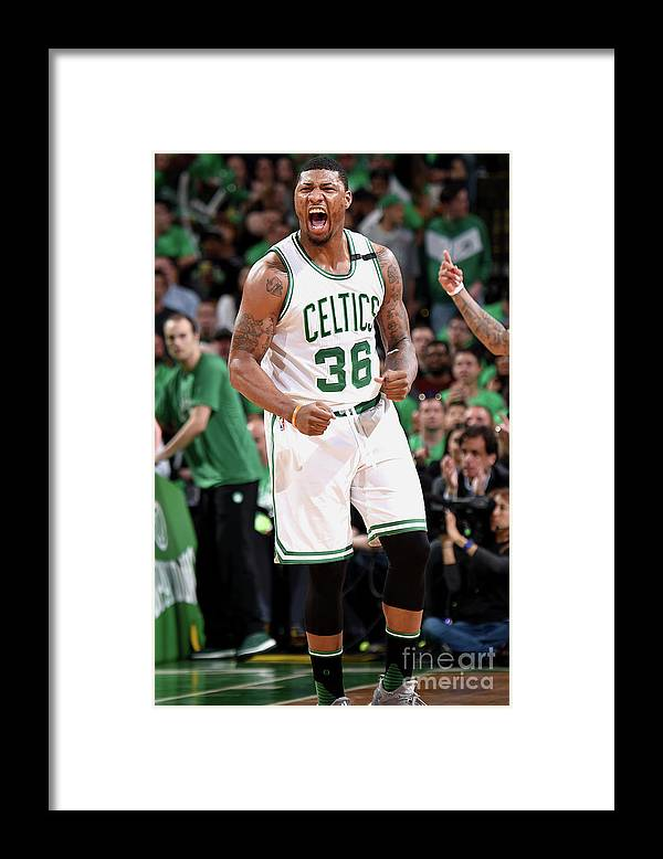Playoffs Framed Print featuring the photograph Marcus Smart by Brian Babineau