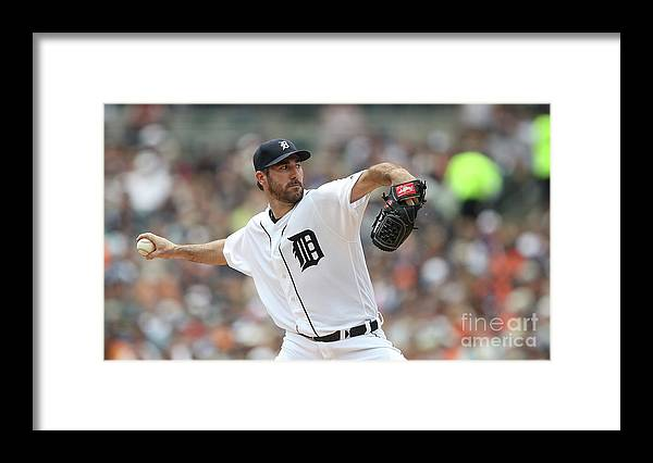 Second Inning Framed Print featuring the photograph Justin Verlander by Leon Halip