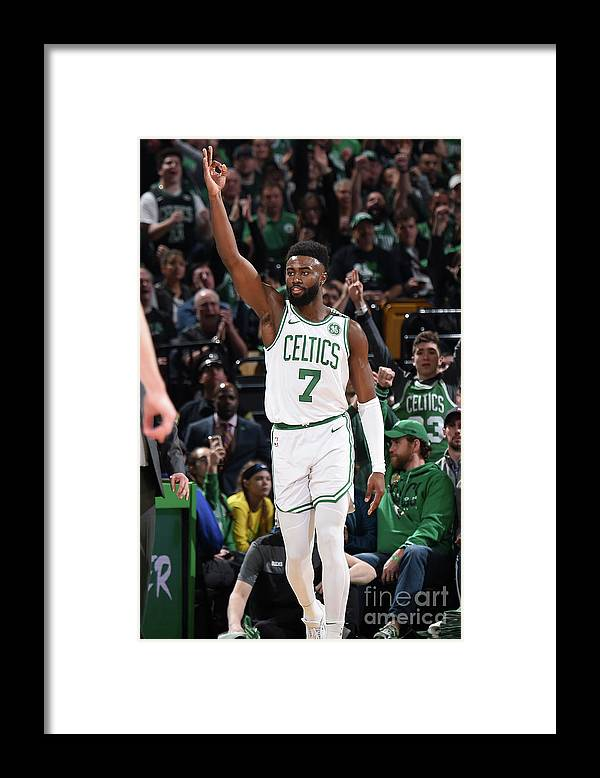 Playoffs Framed Print featuring the photograph Jaylen Brown by Brian Babineau