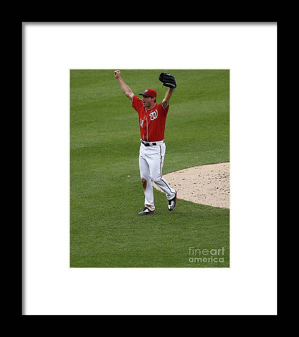 People Framed Print featuring the photograph Max Scherzer by Rob Carr