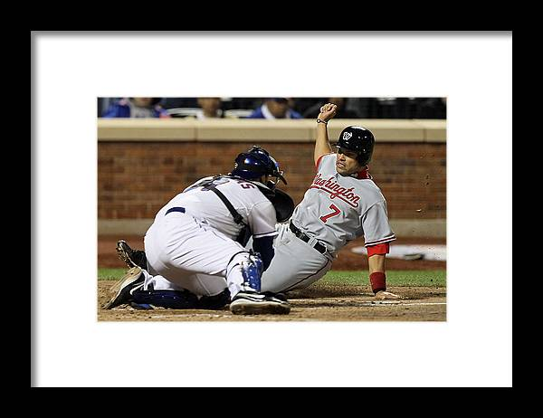 Home Base Framed Print featuring the photograph Washington Nationals v New York Mets by Jim McIsaac