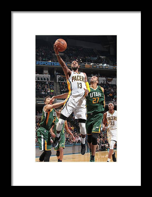 Nba Pro Basketball Framed Print featuring the photograph Paul George by Ron Hoskins