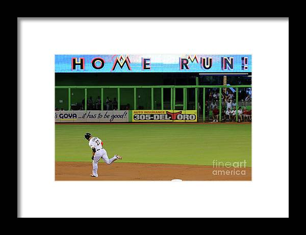 People Framed Print featuring the photograph Giancarlo Stanton by Mike Ehrmann