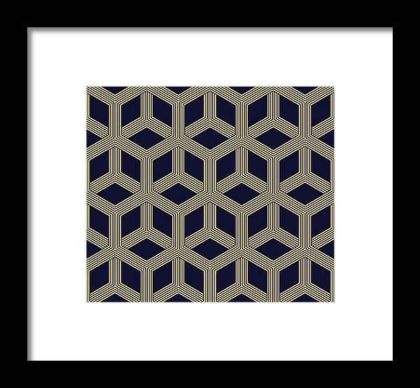 Black Color Framed Print featuring the drawing Seamless Geometric Pattern by Lasagnaforone