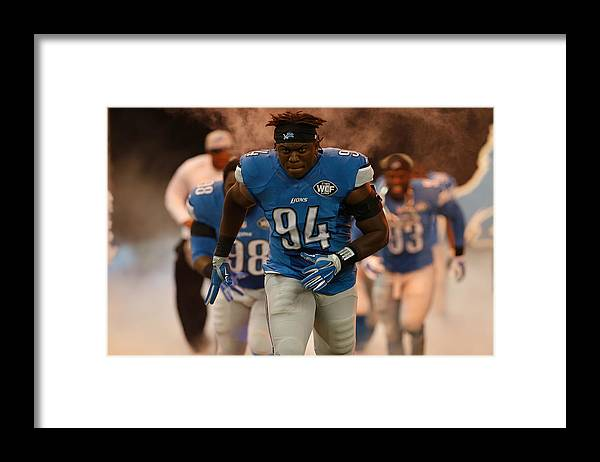 Detroit Framed Print featuring the photograph Green Bay Packers v Detroit Lions by Gregory Shamus