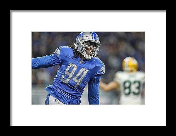 Three Quarter Length Framed Print featuring the photograph Green Bay Packers v Detroit Lions by Leon Halip