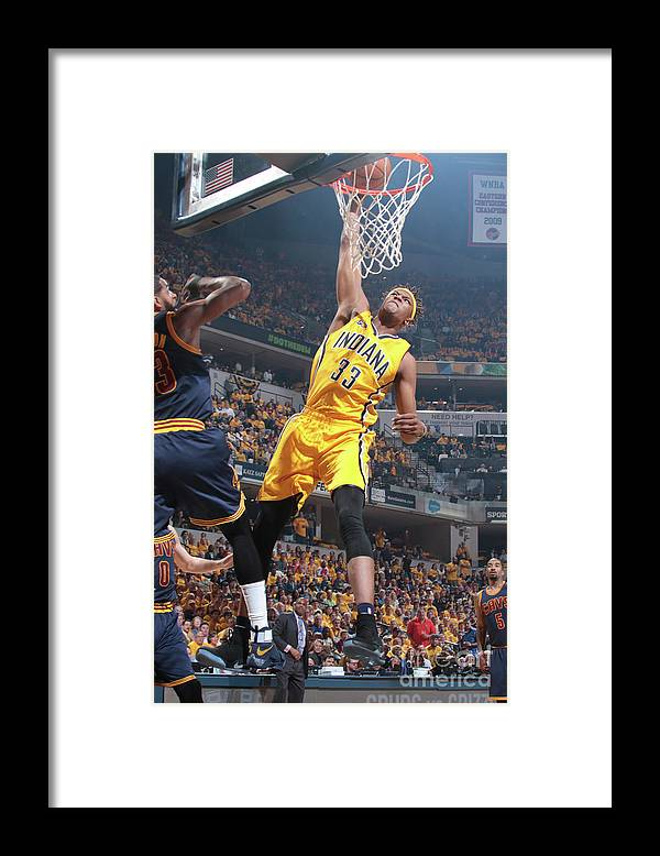 Playoffs Framed Print featuring the photograph Myles Turner by Ron Hoskins