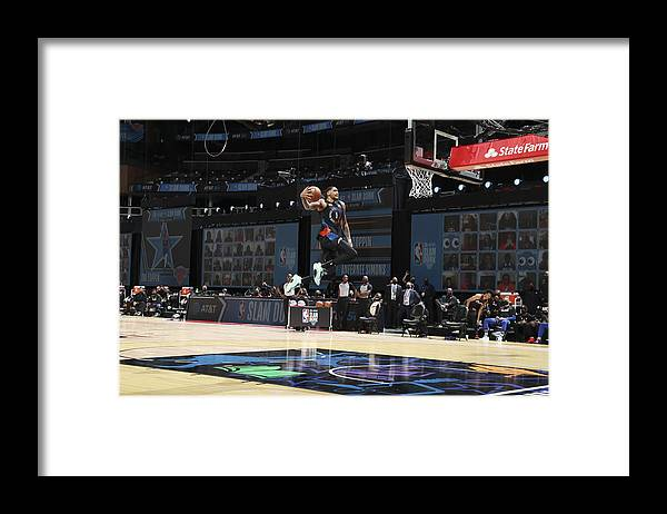 Atlanta Framed Print featuring the photograph 2021 NBA All-Star - AT&T Slam Dunk Contest by Nathaniel S. Butler