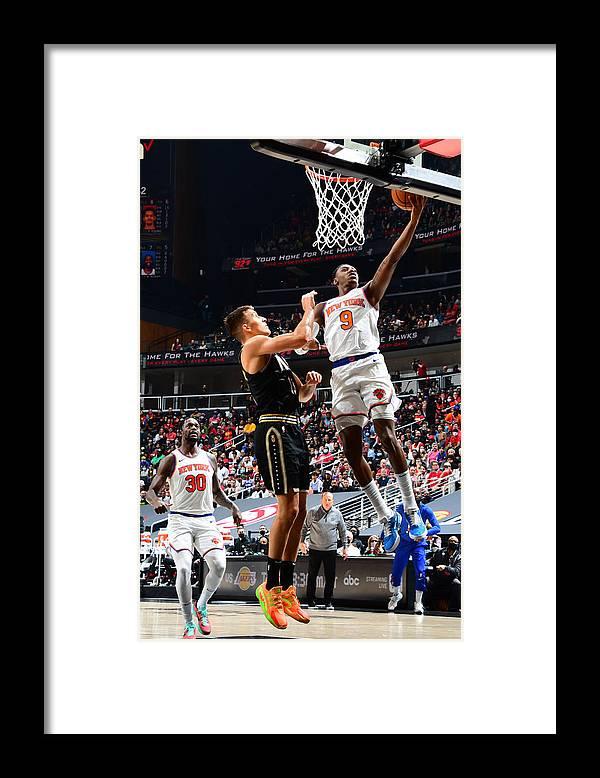 Atlanta Framed Print featuring the photograph 2021 NBA Playoffs - New York Knicks v Atlanta Hawks by Scott Cunningham