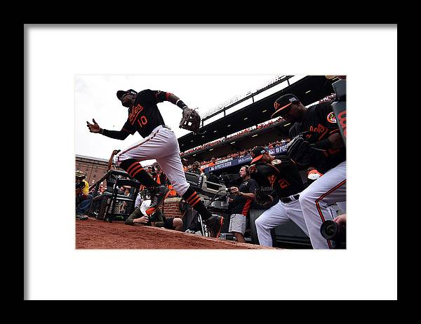 Game Two Framed Print featuring the photograph Adam Jones by Patrick Smith