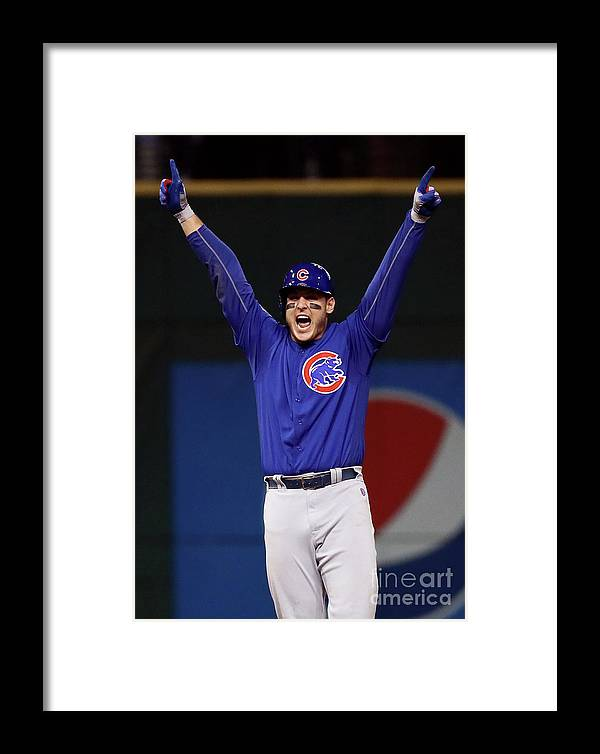 Three Quarter Length Framed Print featuring the photograph Anthony Rizzo And Kris Bryant by Ezra Shaw