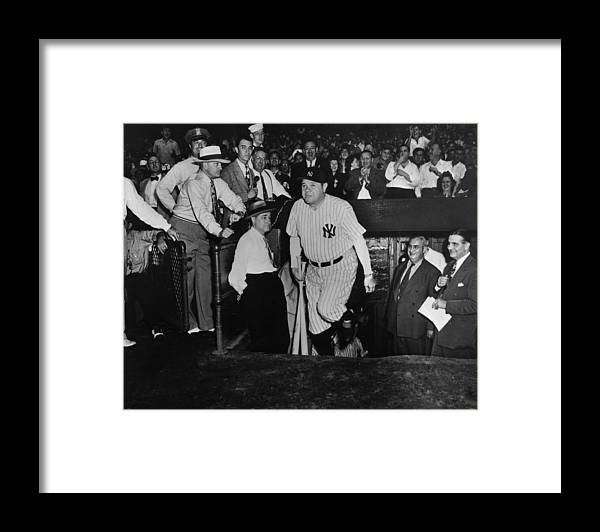Crowd Framed Print featuring the photograph Babe Ruth by American Stock Archive