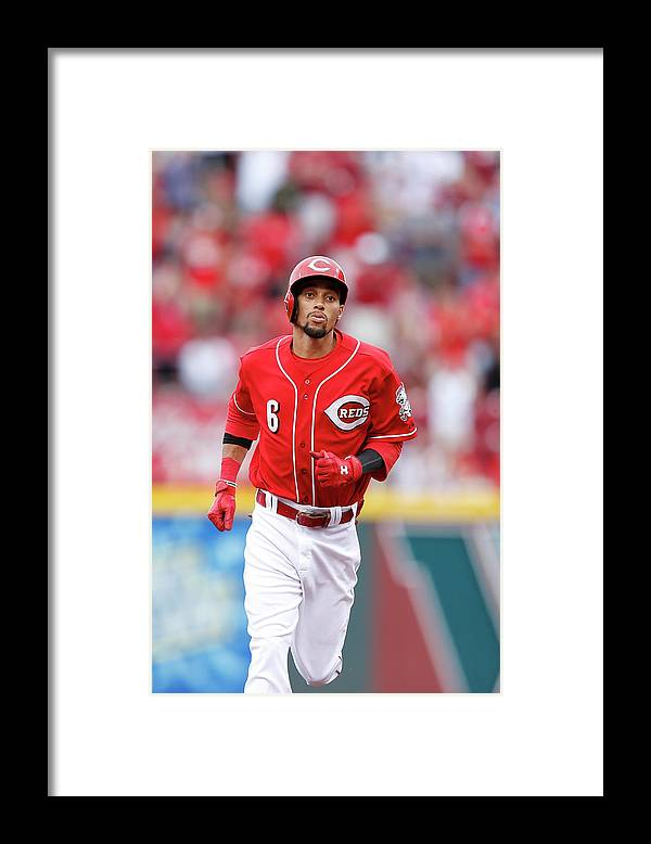 Great American Ball Park Framed Print featuring the photograph Billy Hamilton by Joe Robbins