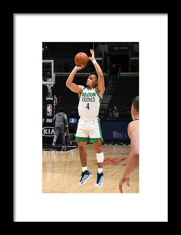Nba Pro Basketball Framed Print featuring the photograph Boston Celtics v LA Clippers by Adam Pantozzi