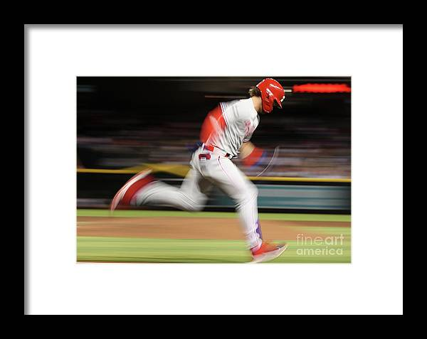 People Framed Print featuring the photograph Bryce Harper by Christian Petersen