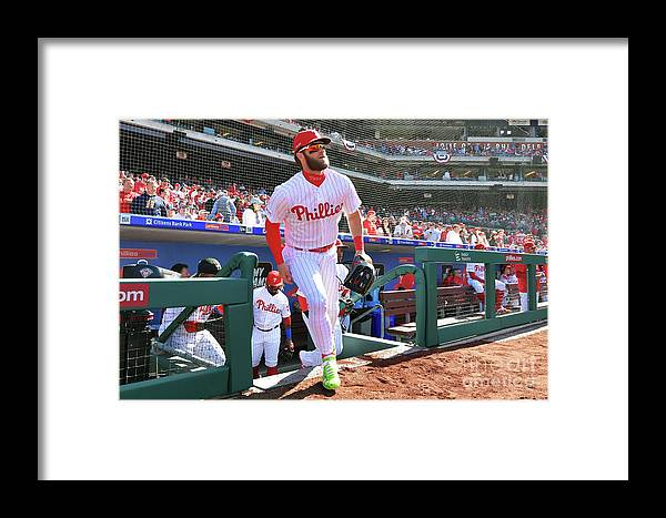 People Framed Print featuring the photograph Bryce Harper by Drew Hallowell