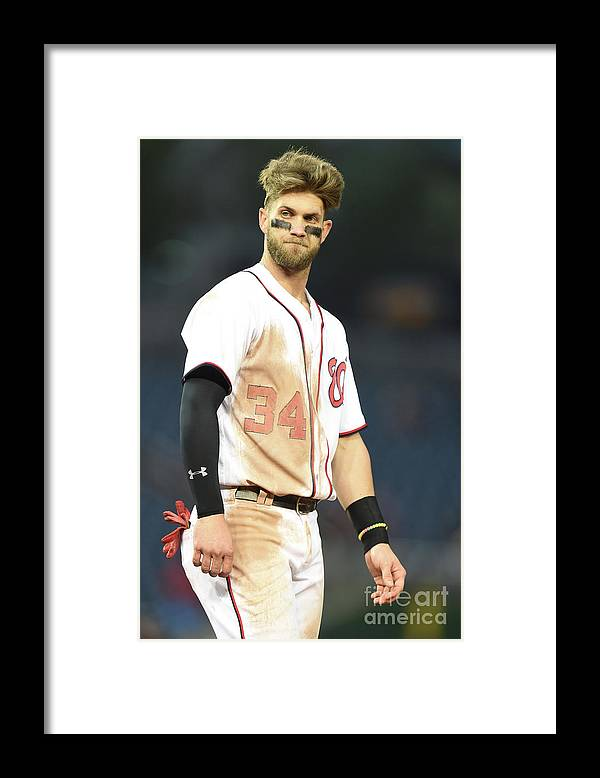 Three Quarter Length Framed Print featuring the photograph Bryce Harper by Mitchell Layton