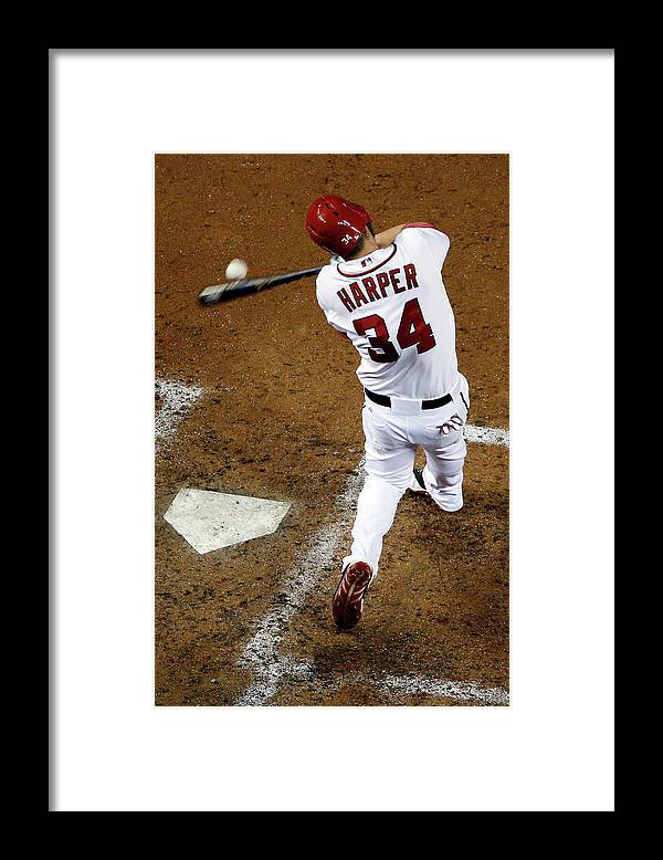 American League Baseball Framed Print featuring the photograph Bryce Harper by Rob Carr