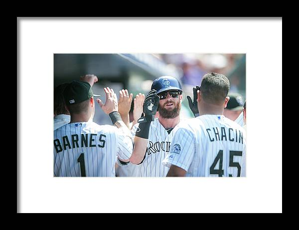 Scoring Framed Print featuring the photograph Charlie Blackmon by Dustin Bradford