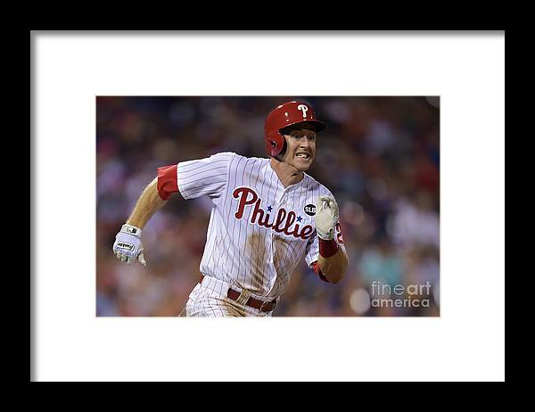 Three Quarter Length Framed Print featuring the photograph Chase Utley by Drew Hallowell