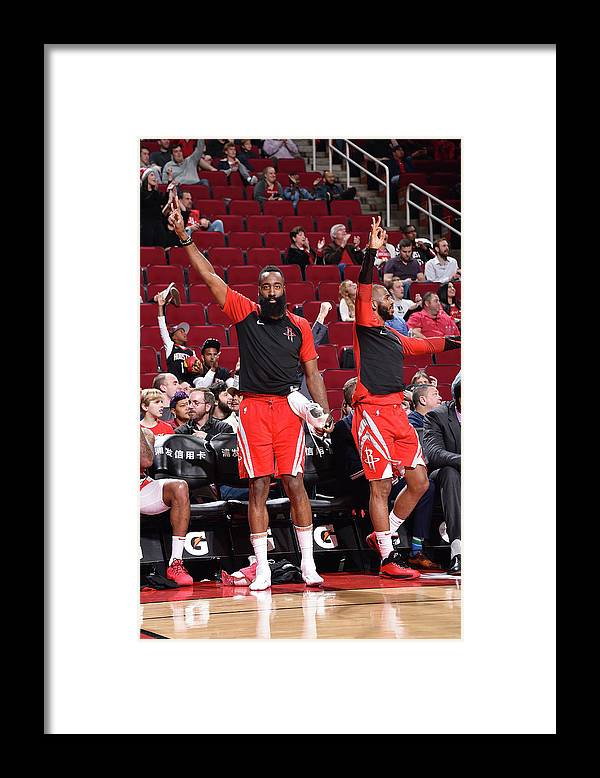 Nba Pro Basketball Framed Print featuring the photograph Chris Paul and James Harden by Bill Baptist