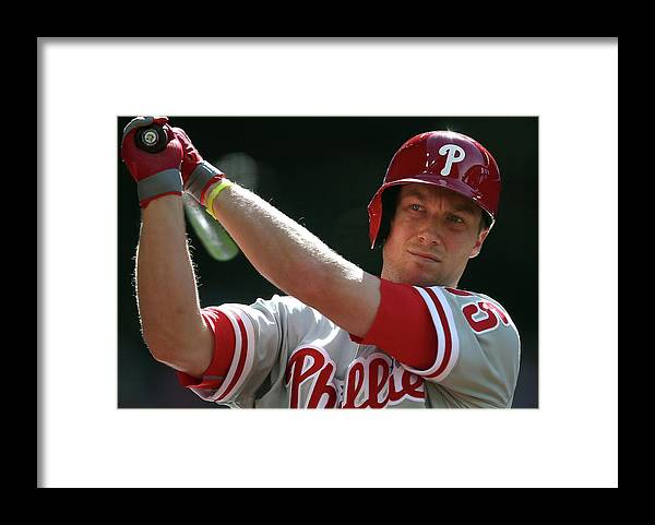 Ninth Inning Framed Print featuring the photograph Cody Asche by Christian Petersen
