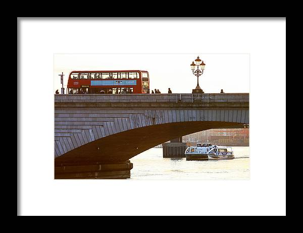 England Framed Print featuring the photograph Commuters Use New High-Speed Catamaran Clippers Operated By MBNA Thames Clippers by Bloomberg