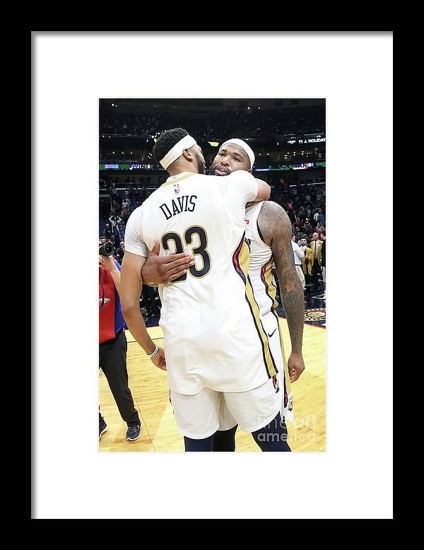Smoothie King Center Framed Print featuring the photograph Demarcus Cousins and Anthony Davis by Layne Murdoch