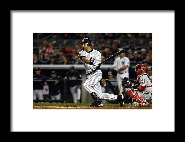 Game Two Framed Print featuring the photograph Derek Jeter by Chris Mcgrath