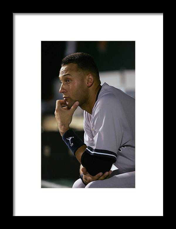 People Framed Print featuring the photograph Derek Jeter by Jamie Squire