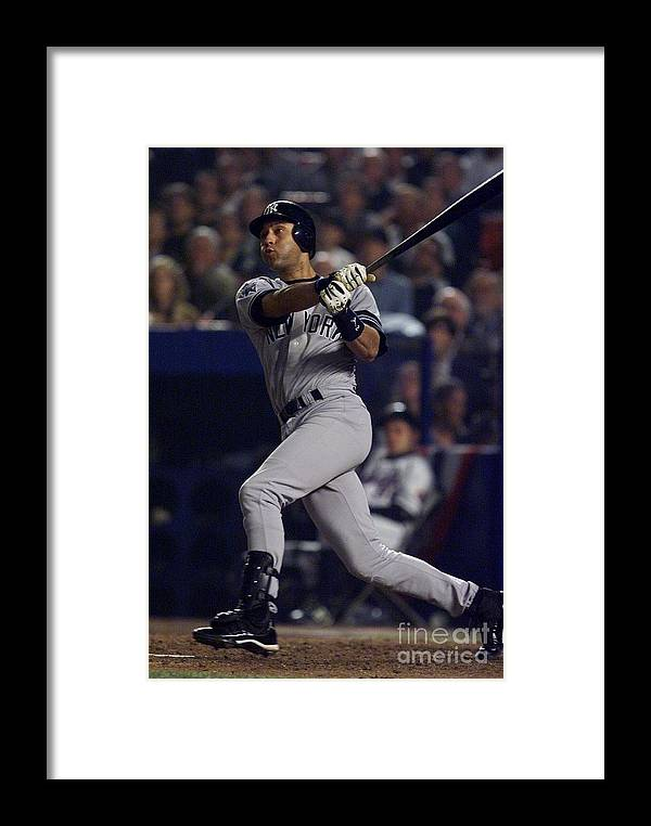People Framed Print featuring the photograph Derek Jeter by Jed Jacobsohn
