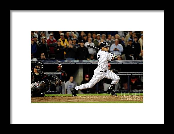 People Framed Print featuring the photograph Derek Jeter by Jeff Zelevansky