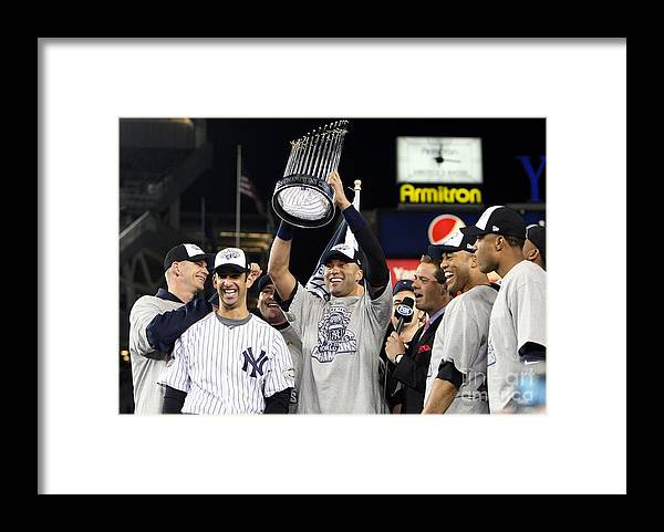 American League Baseball Framed Print featuring the photograph Derek Jeter, Mariano Rivera, and Jorge Posada by Jed Jacobsohn