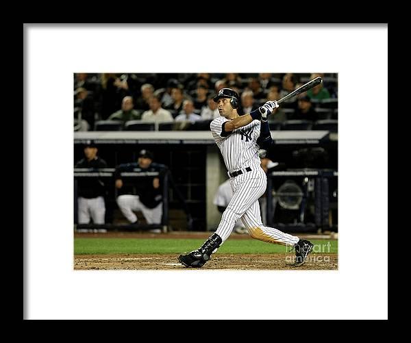 Playoffs Framed Print featuring the photograph Derek Jeter by Nick Laham