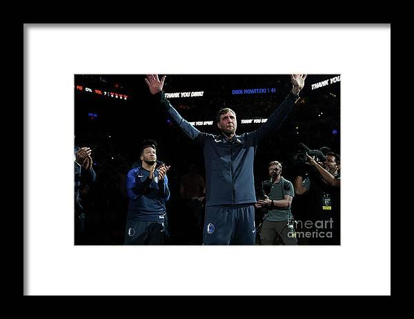 Nba Pro Basketball Framed Print featuring the photograph Dirk Nowitzki by Darren Carroll