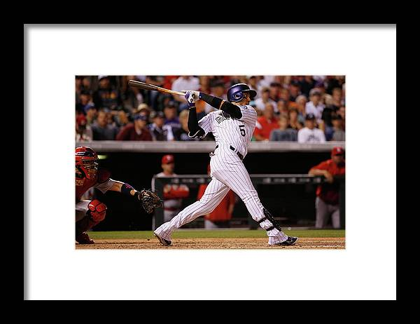 People Framed Print featuring the photograph Dj Lemahieu, Carlos Gonzalez, and Randy Choate by Doug Pensinger