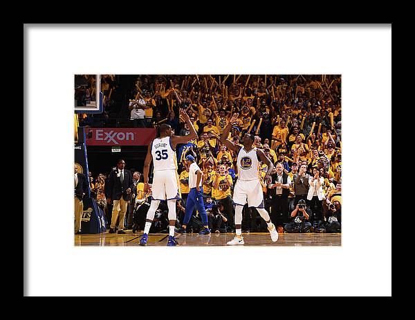 Playoffs Framed Print featuring the photograph Draymond Green and Kevin Durant by Noah Graham