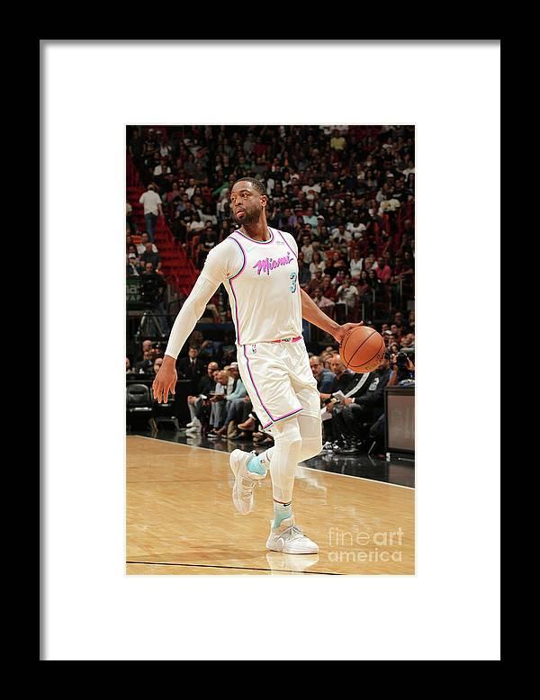 Nba Pro Basketball Framed Print featuring the photograph Dwyane Wade by Oscar Baldizon